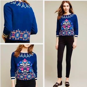 Anthropologie Monogram Folk Boho Sweater